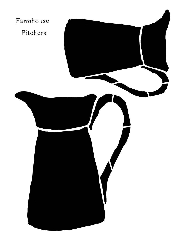 Farmhouse Pitchers stencil