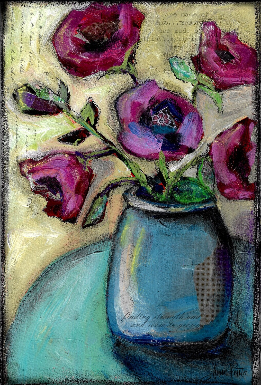 """""""Room to grow"""" blue vase Print on Wood and Print to be Framed"""