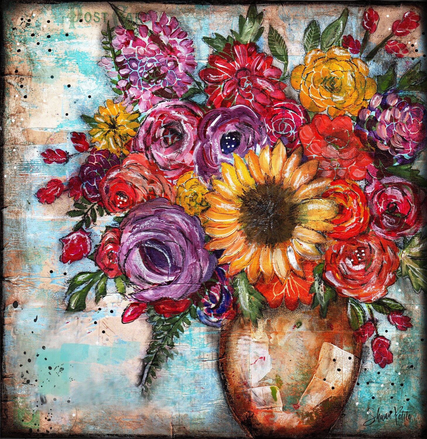 """""""Calm"""" bright sunflower bouquet Print on Wood and Print to be Framed"""