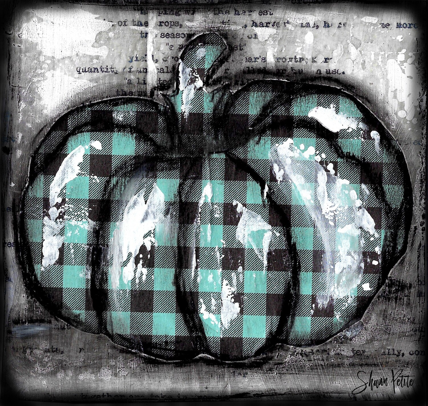 """Pumpkin"" teal plaid round Print on Wood and Print to be Framed"
