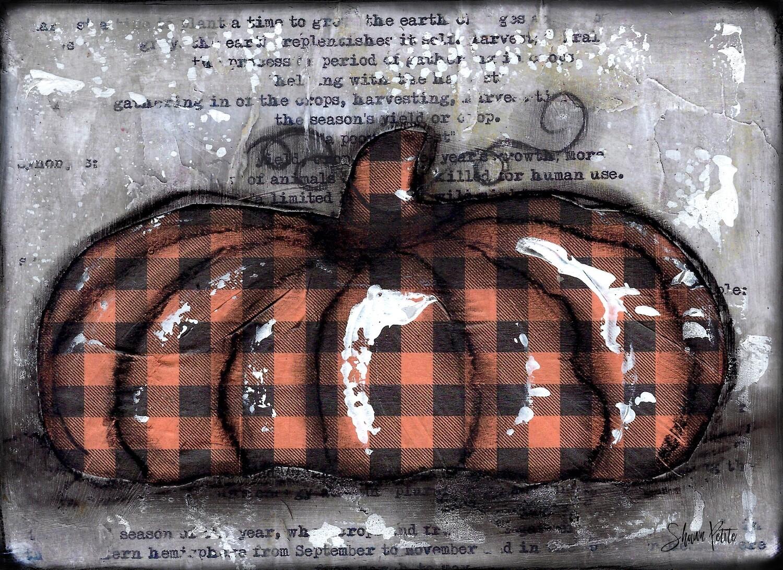 """Pumpkin"" orange plaid flat Print on Wood and Print to be Framed"
