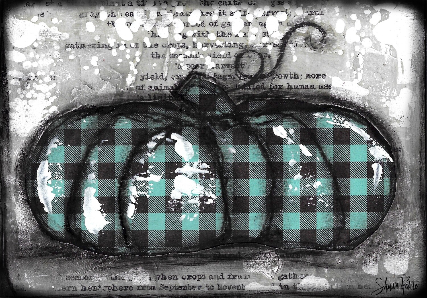 """""""Pumpkin"""" teal plaid flat Print on Wood and Print to be Framed"""