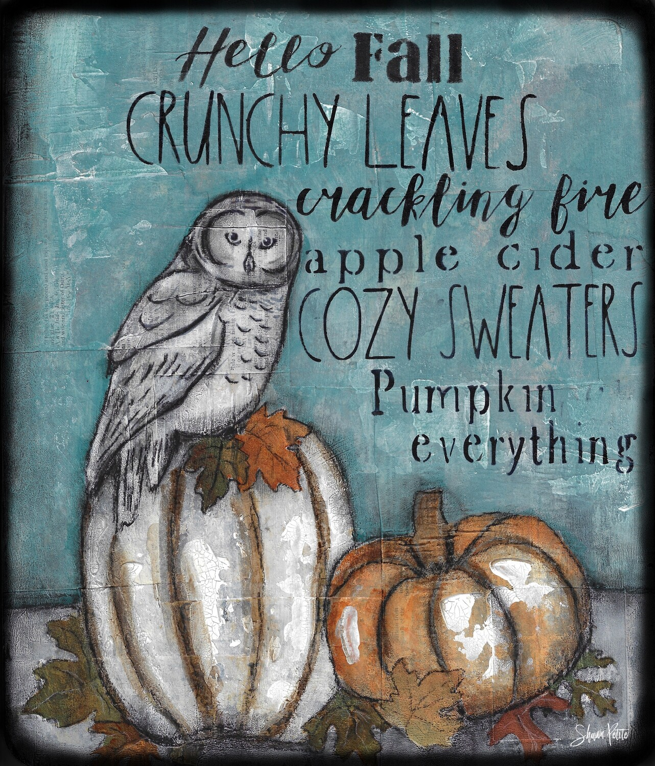 """""""Fall Words"""" owl Print on Wood and Print to be Framed"""