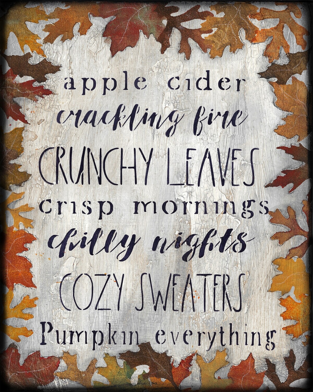 """Fall Words"" with leaves Print on Wood and Print to be Framed"