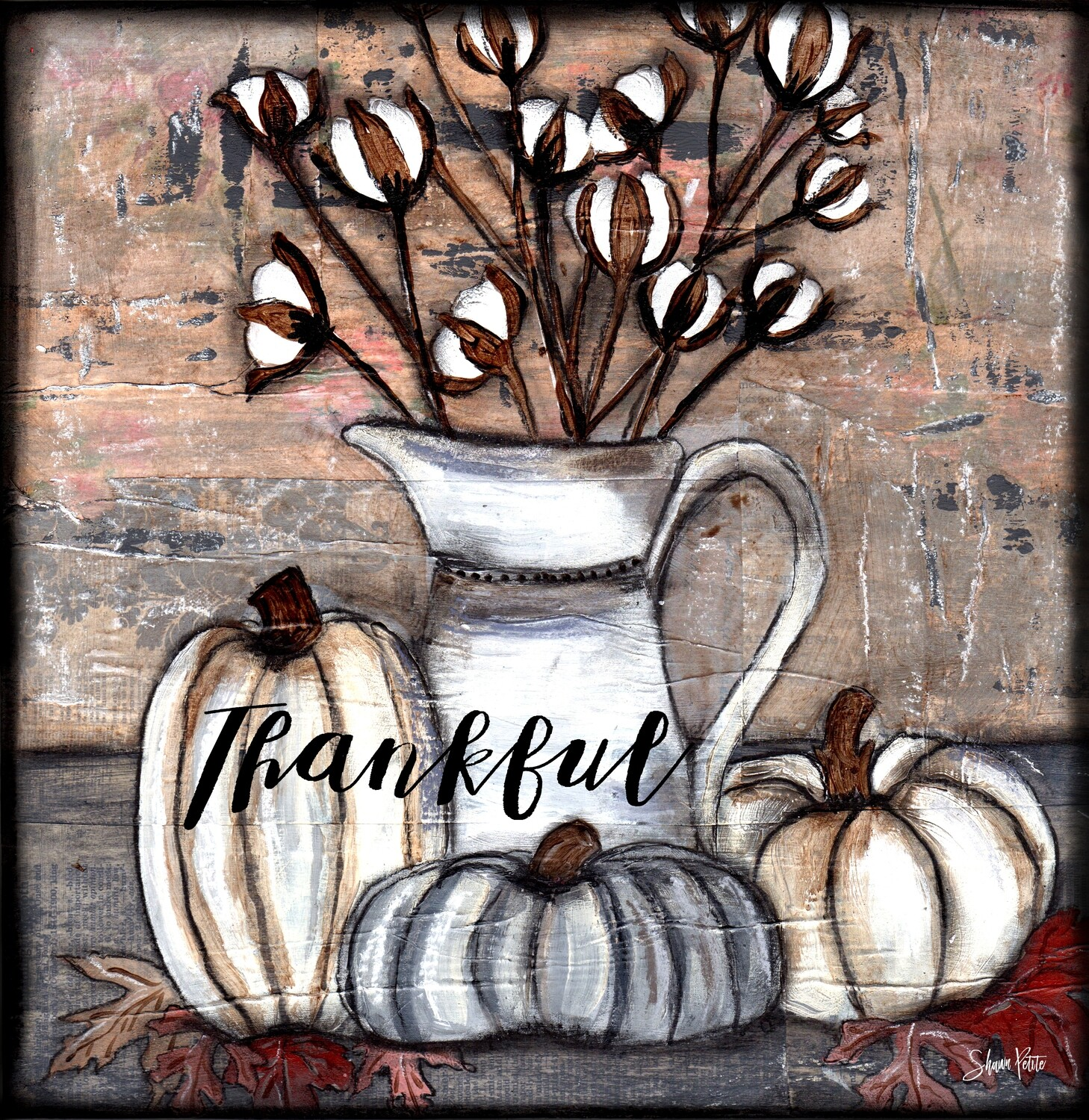 """Thankful"" cotton and pumpkins Print on Wood and Print to be Framed"