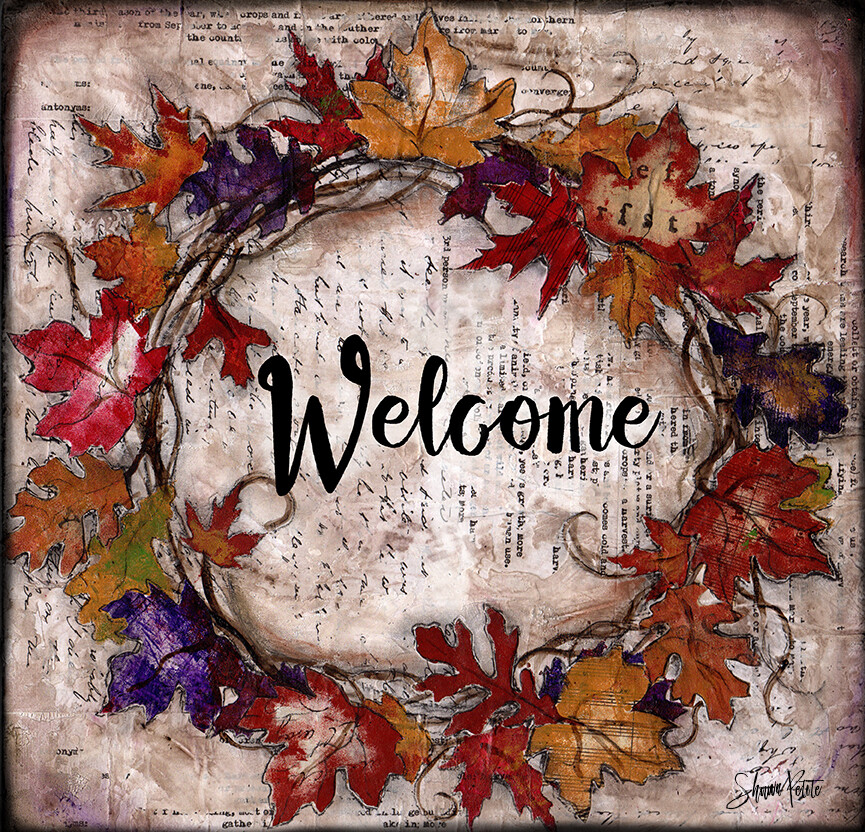 """""""Welcome"""" fall leaves wreath Print on Wood and Print to be Framed"""
