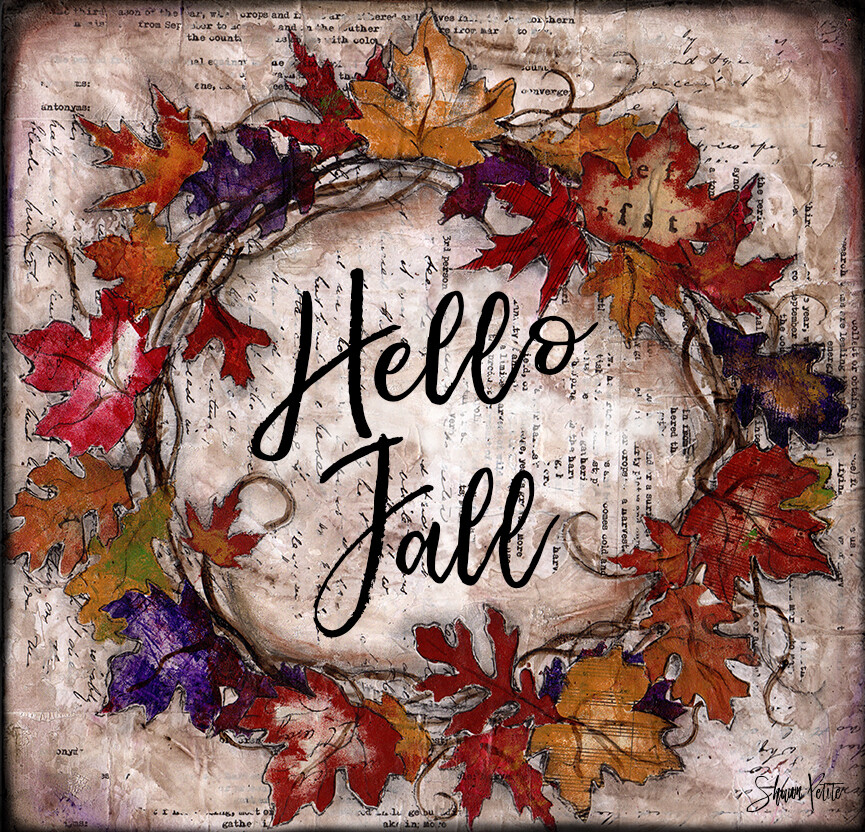 """""""Hello Fall"""" fall leaves wreath Print on Wood and Print to be Framed"""