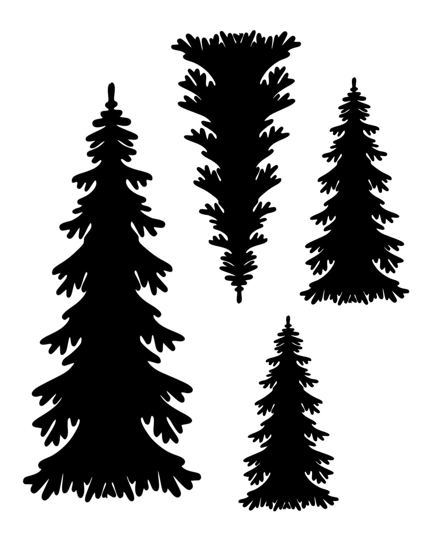 Christmas trees Quad stencil