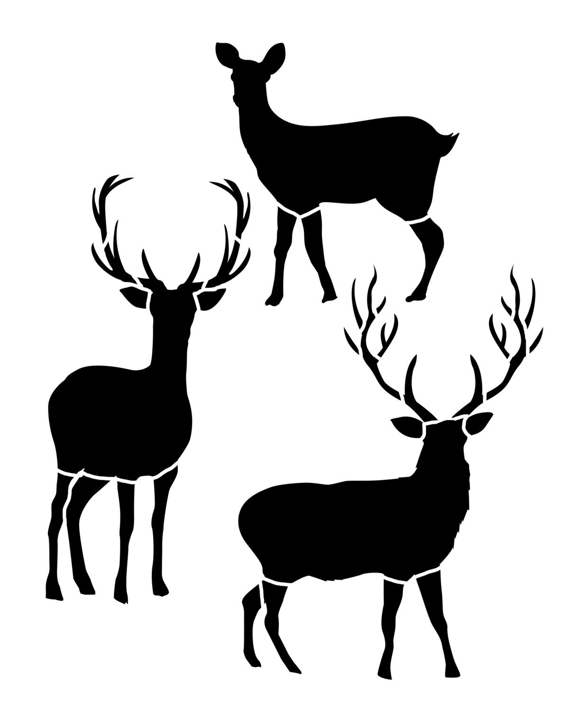 Deer Trio stencil