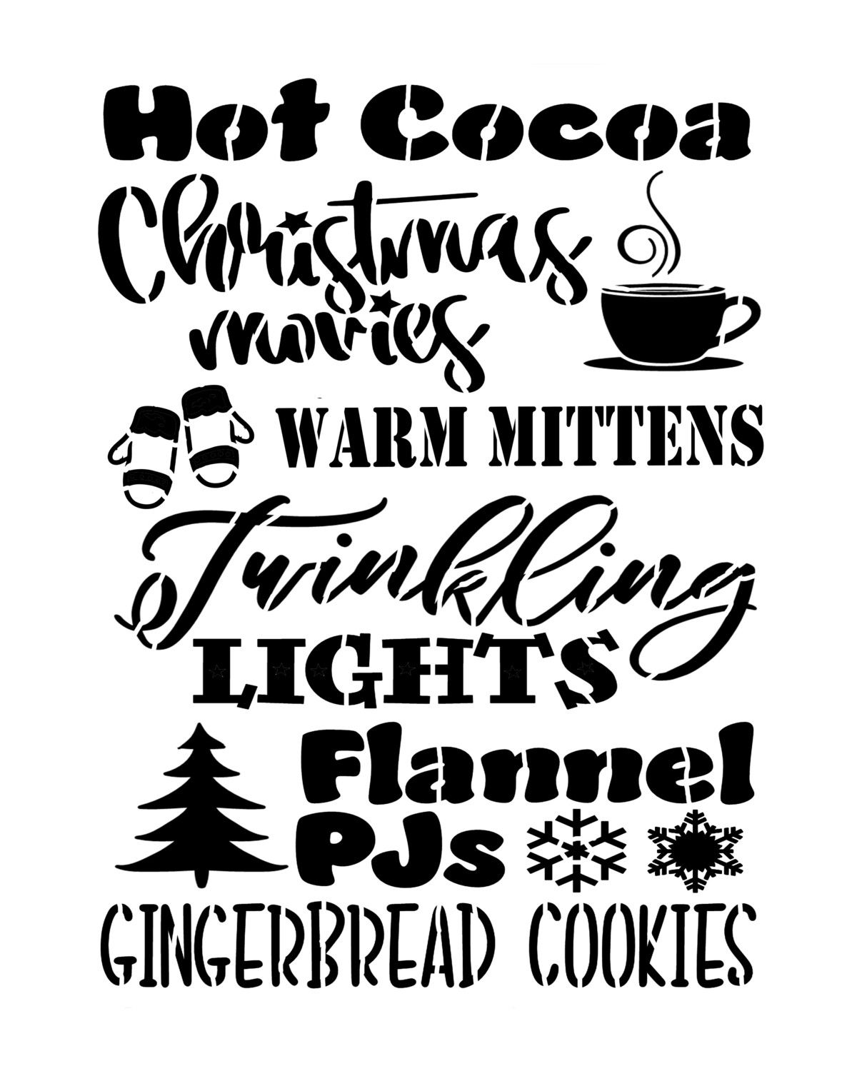 Christmas Words Hot Cocoa stencil