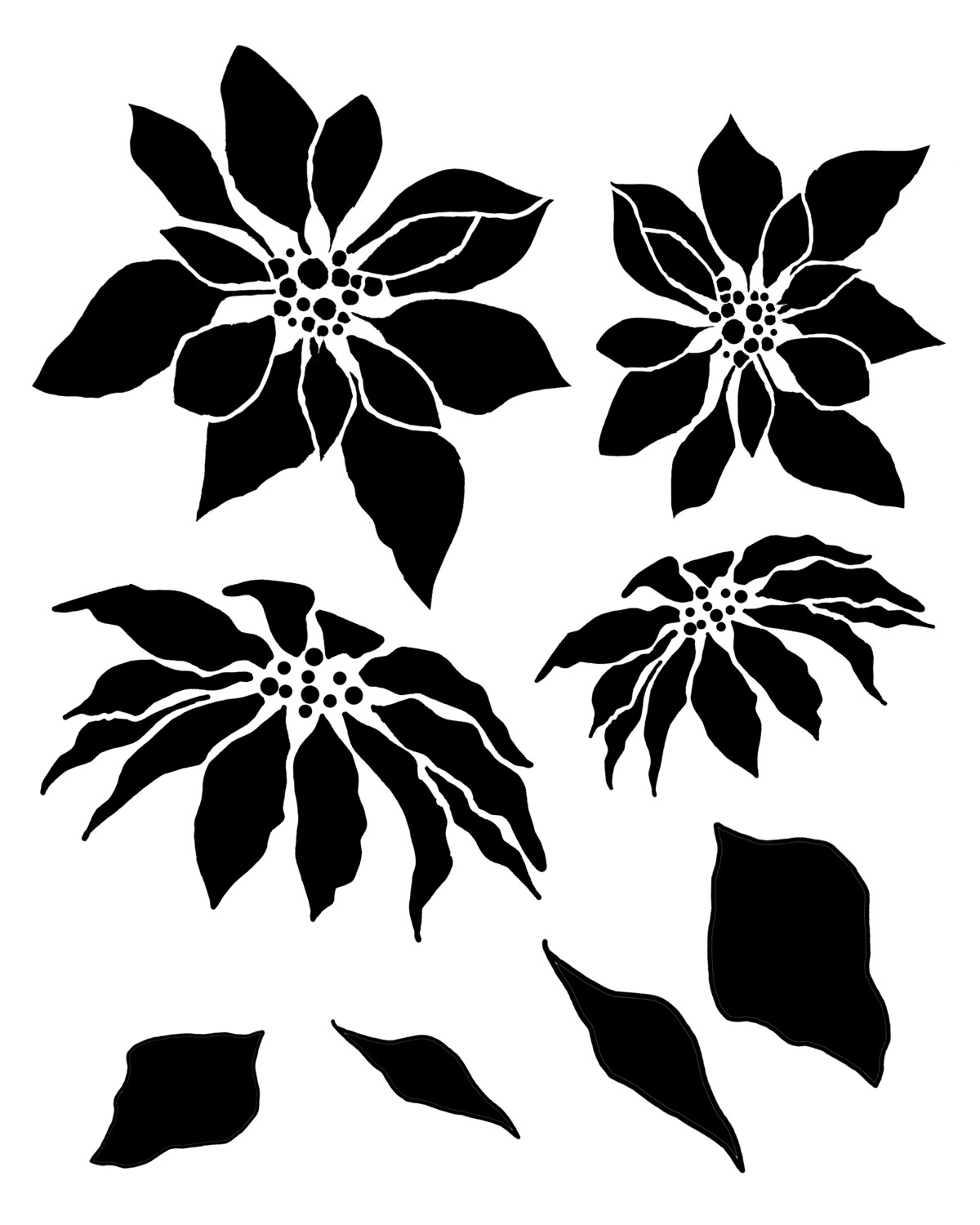 Poinsettia and Leaves stencil