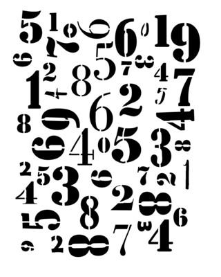 Numbers Jumbled stencil