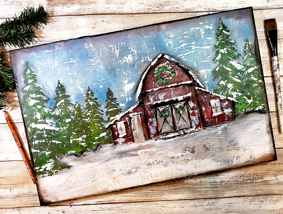 """""""Winter red Barn"""" Print on Wood and Print to be Framed"""
