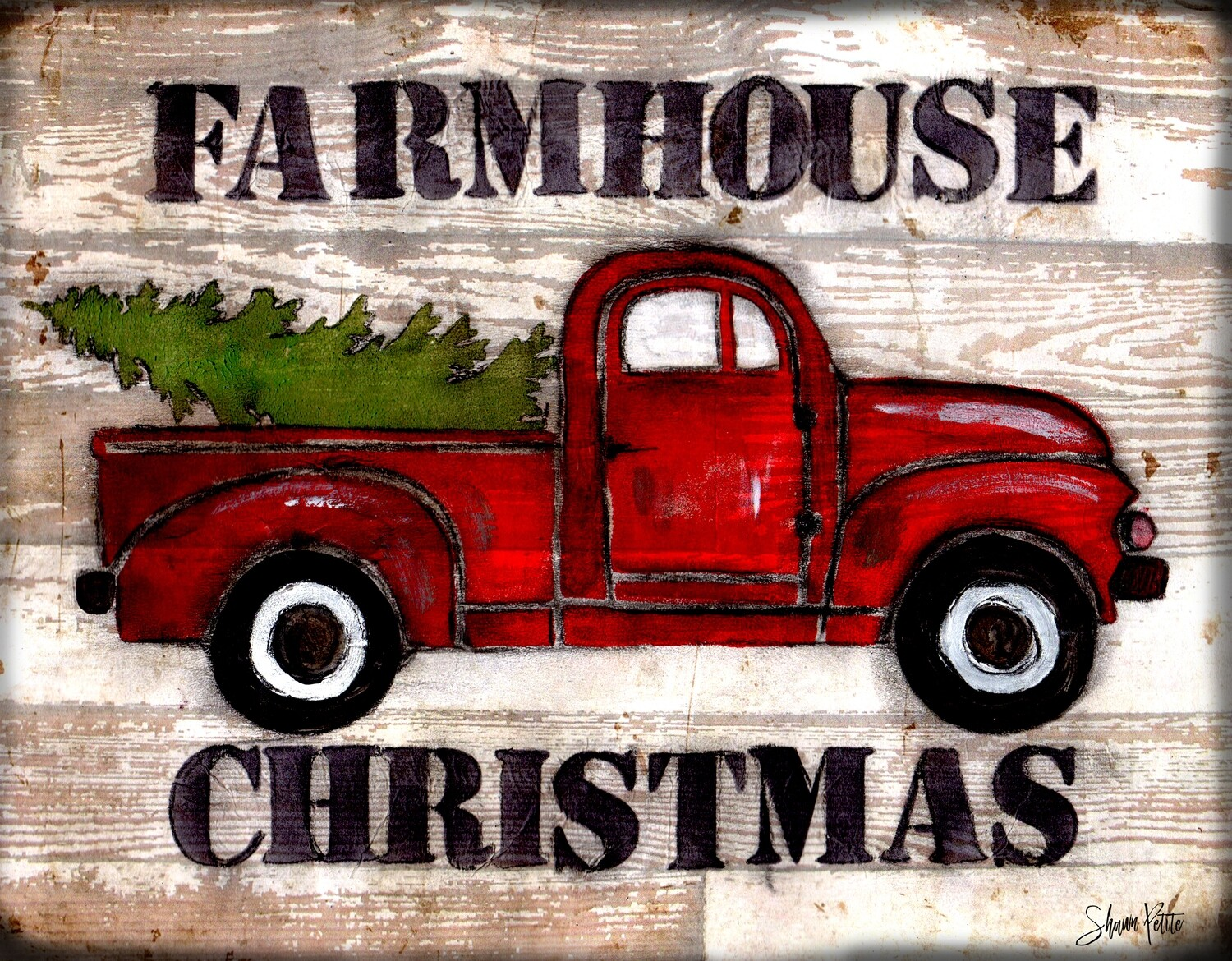 """""""Farmhouse Christmas Truck"""" Print on Wood and Print to be Framed"""