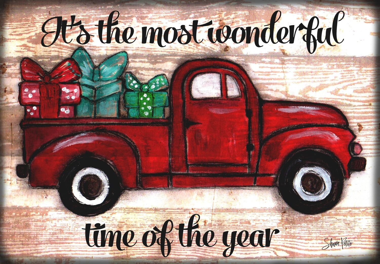 """""""It's the Most Wonderful Time of the Year"""" truck  Print on Wood and Print to be Framed"""