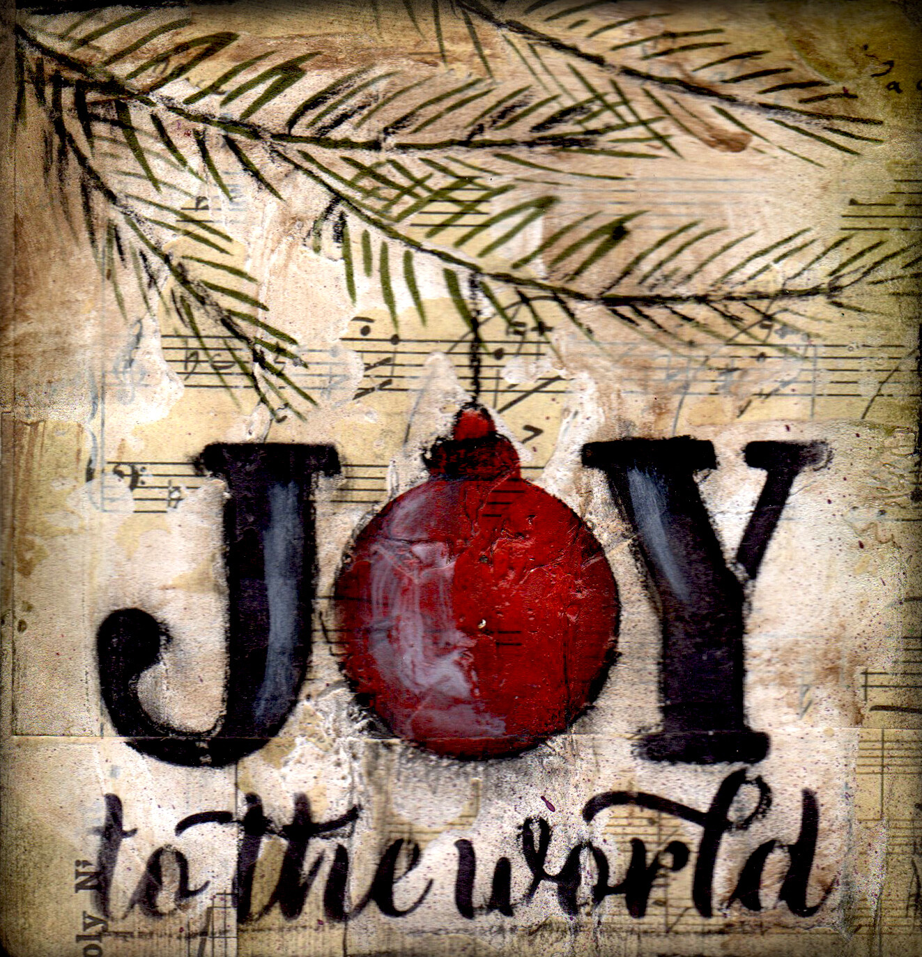 """Joy to the World"" tree branch Print on Wood and Print to be Framed"