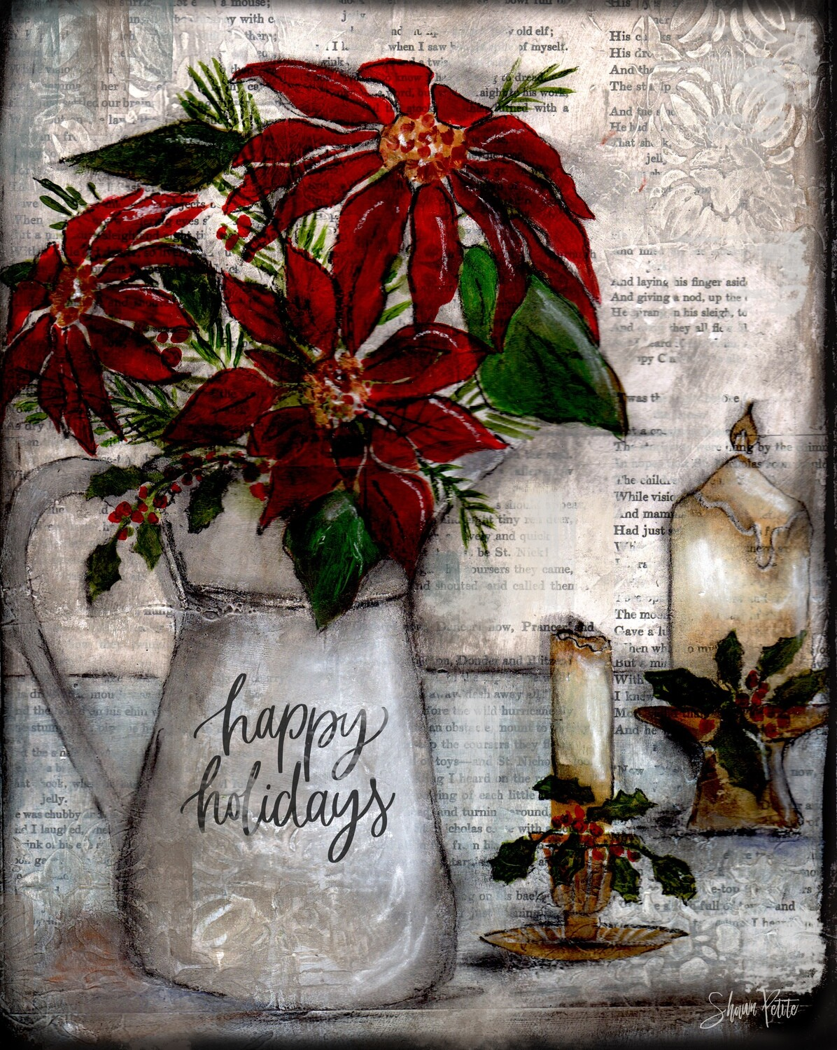 """Happy Holidays"" pitcher Print on Wood and Print to be Framed"