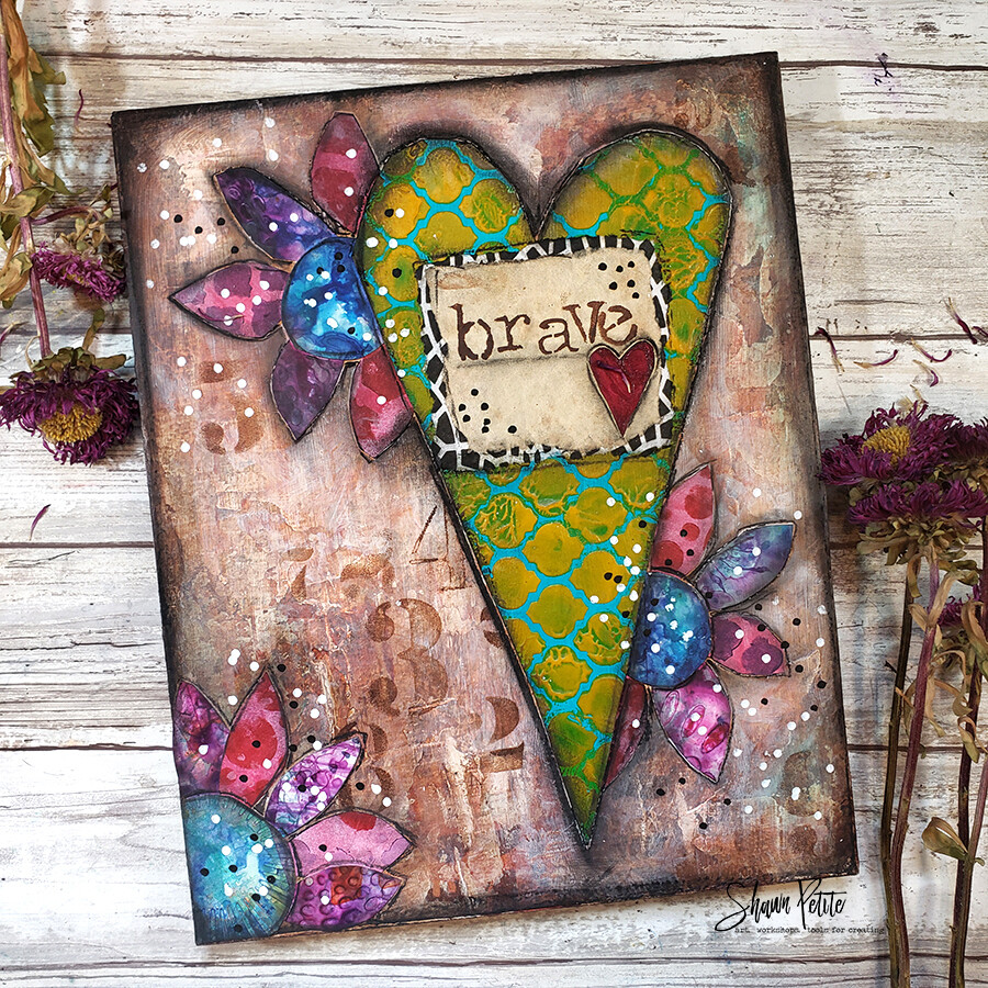 """""""Brave"""" bright heart Print on Wood and Print to be Framed"""