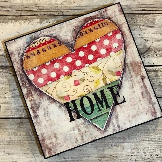 """Home""4x4 print on wood Clearance"