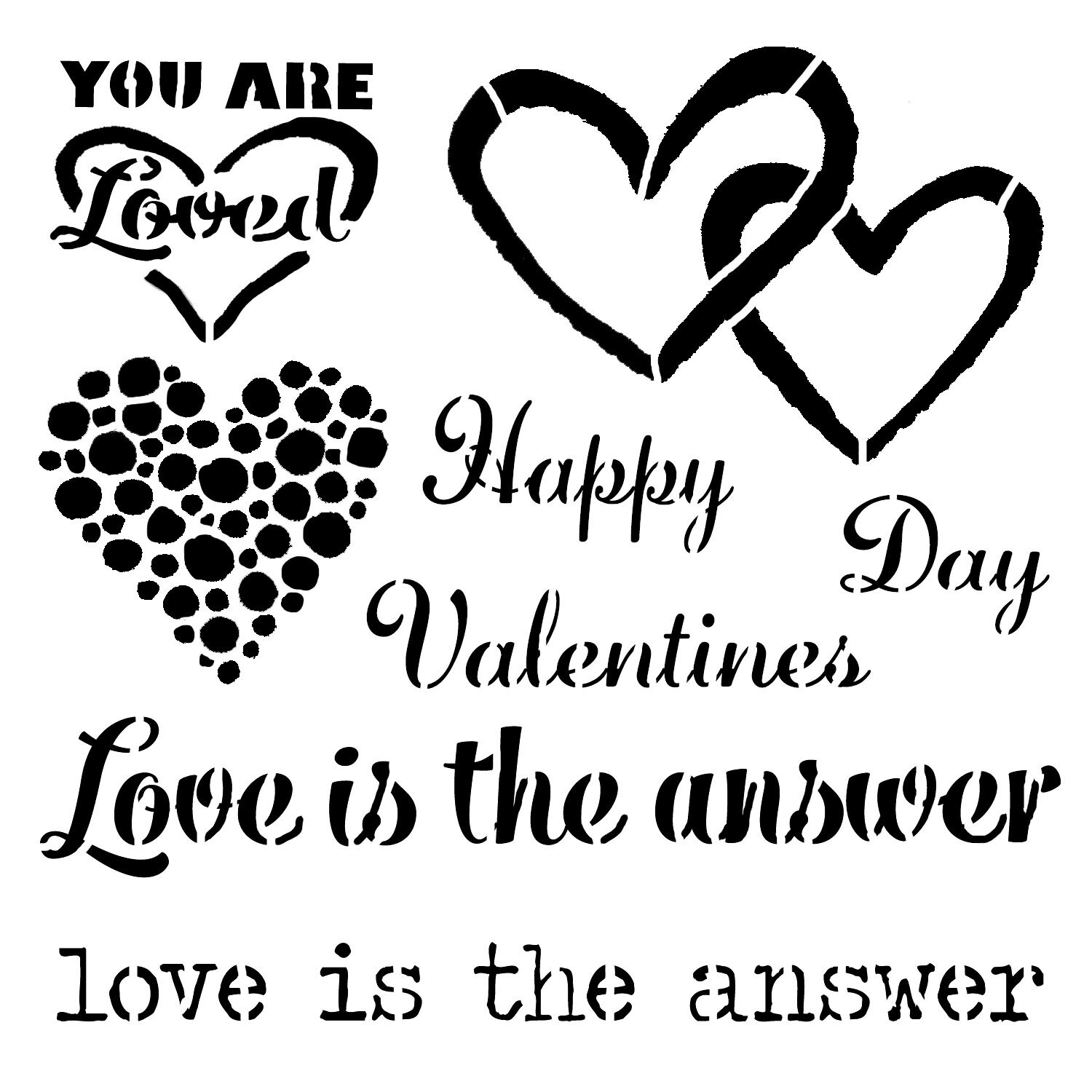 Valentine's Day Love is the Answer 6x6 stencil