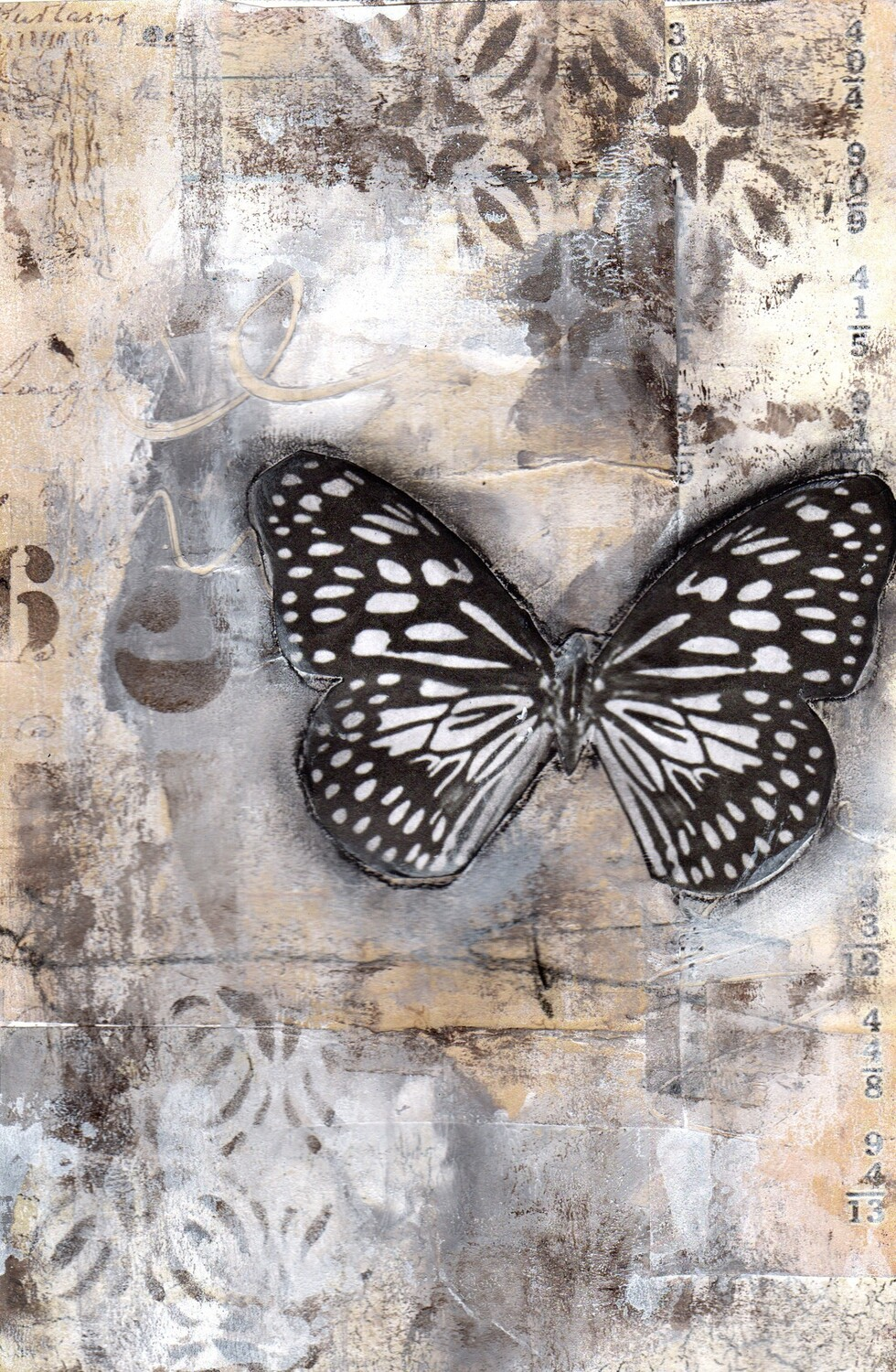 """Neutral Butterfly 1"" 6x9 mixed media original to be framed"