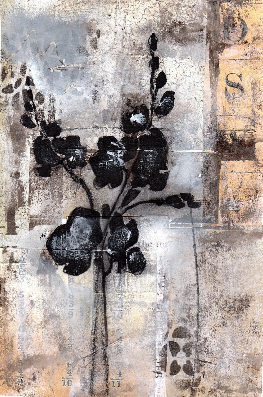 """Neutral Flower 1"" 6x9 mixed media original to be framed"
