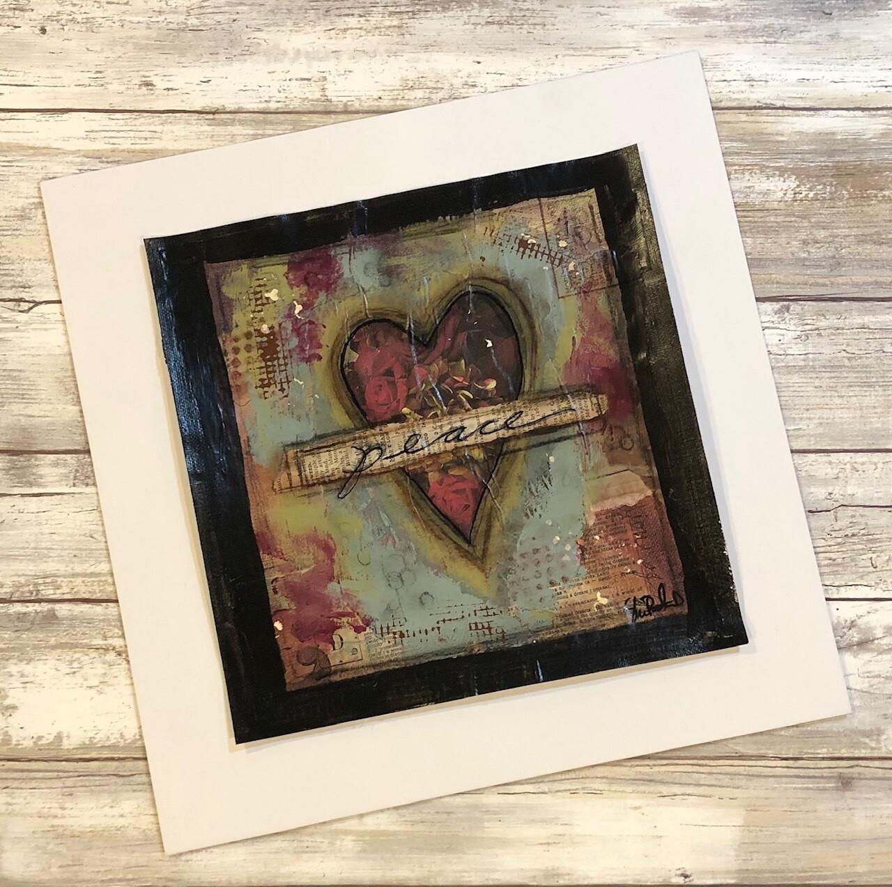 """Peace"" heart 9x9 mixed media original to be framed"
