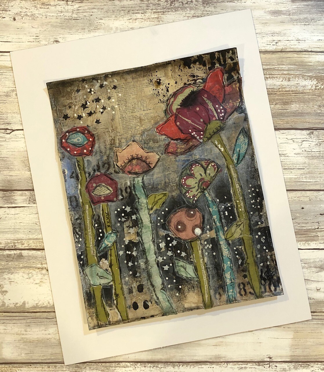"""""""Forest of Flowers 1"""" 8.5x11 mixed media original to be framed"""