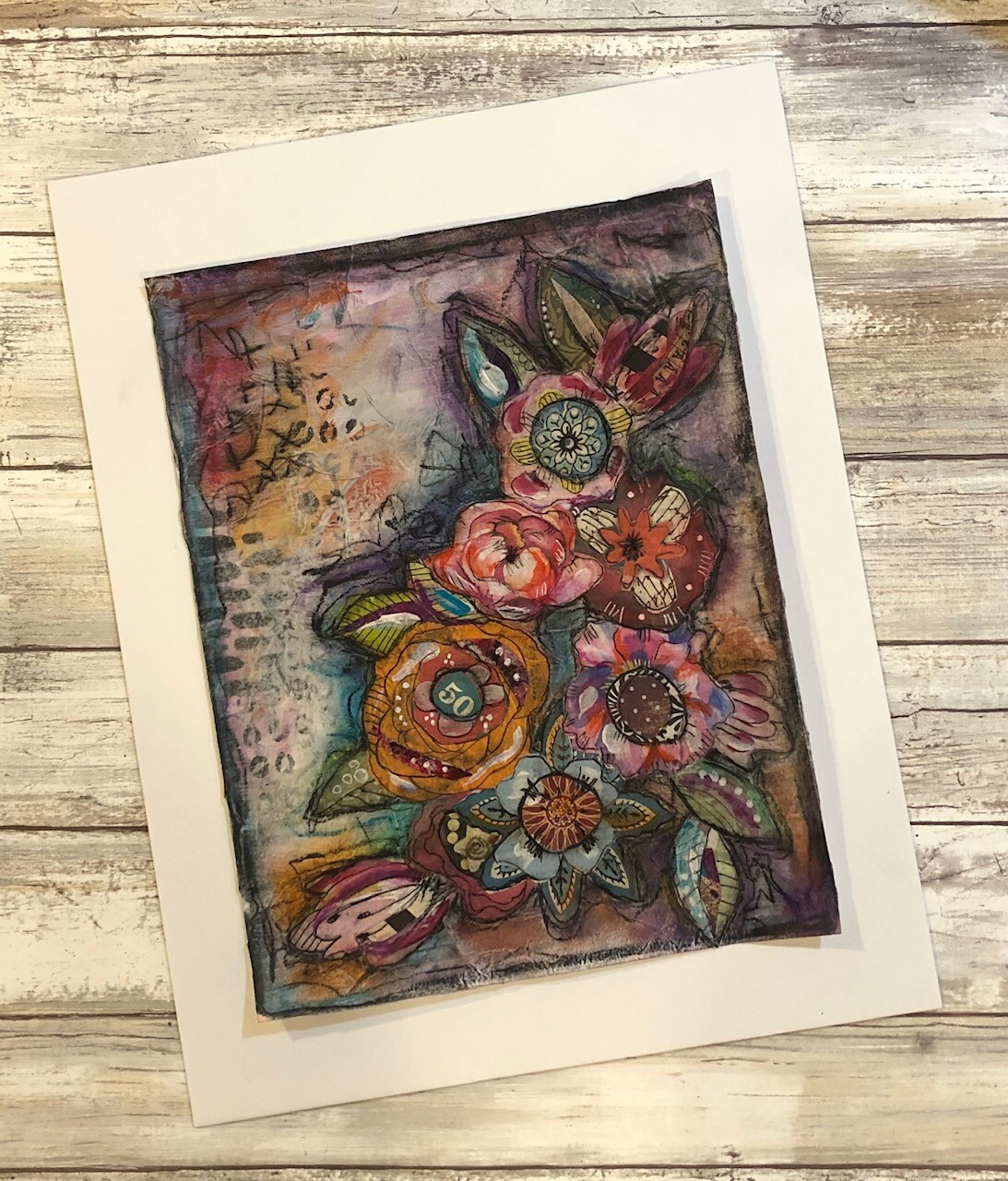 """Bloom"" 8.5x11 mixed media original to be framed"