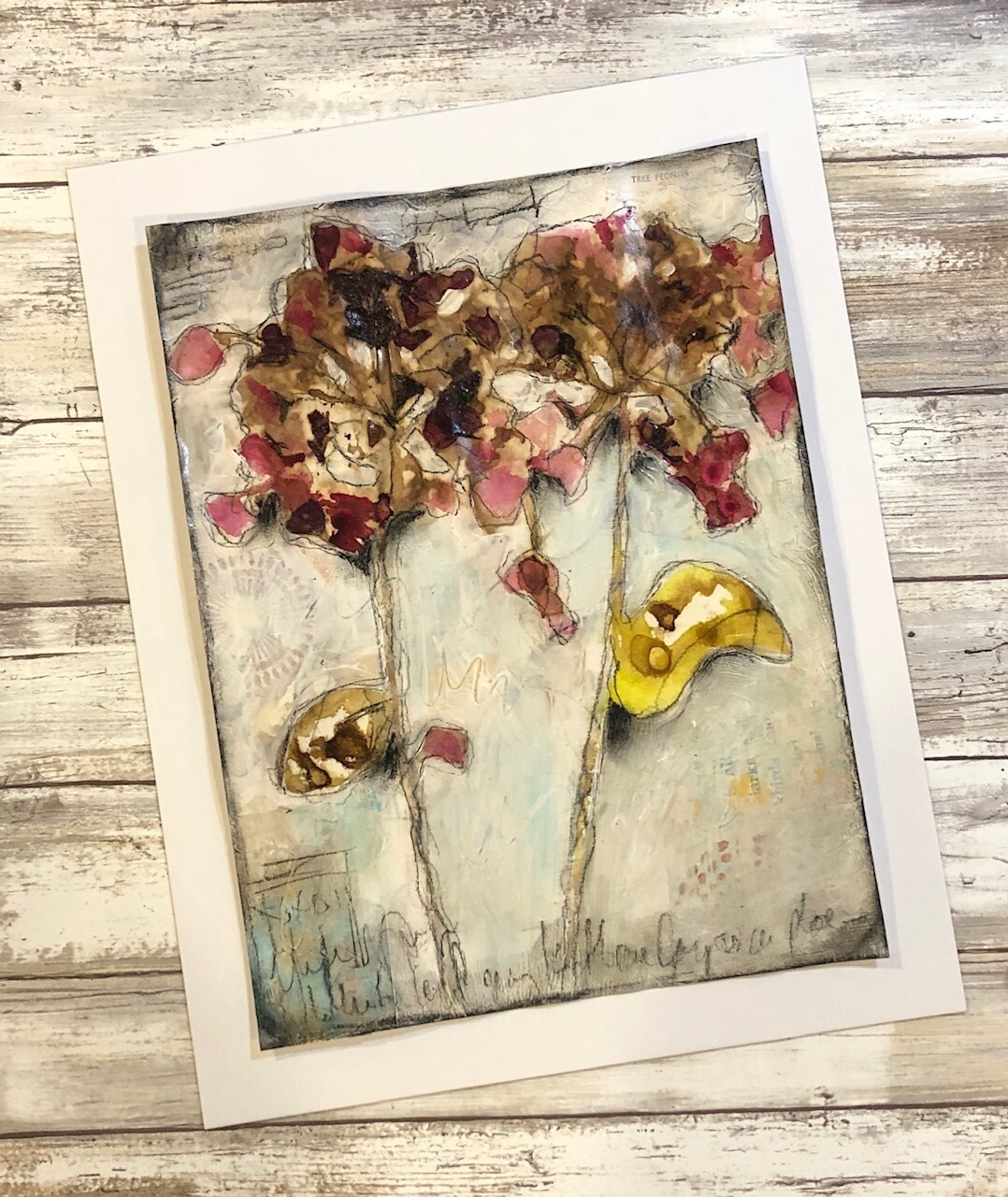 """Geranium Love 2"" 9x11.75 mixed media eco-dye with real Geraniums original to be framed"