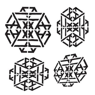 Geo Hexagon 4 6x6 stencil