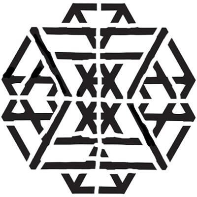 Geo Hexagon large 6x6 stencil