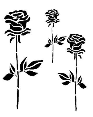 Roses Trio stencil