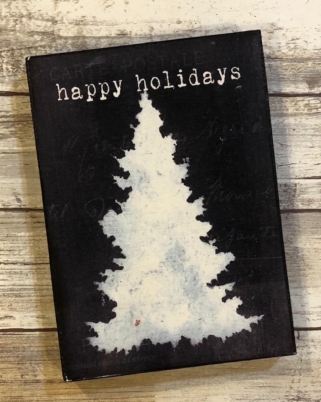 """""""Happy Holidays"""" tree 5x7 Clearance"""