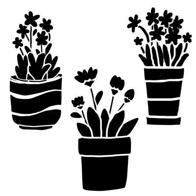 Little pots stencil 6x6