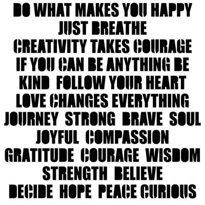 Positive Words stencil 6x6