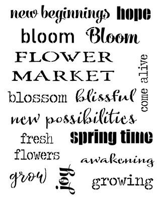 Spring Words stencil
