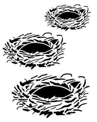 Birds nests stencil