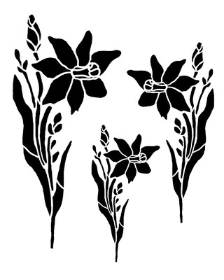 Daffodils Trio stencil 12x16