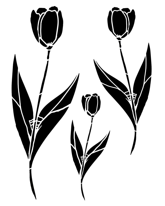 Tulips Trio stencil