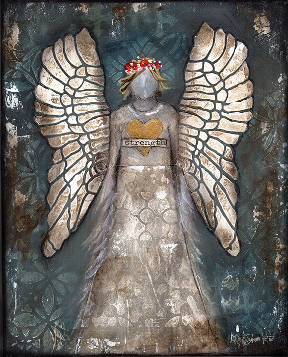 """Angel of strength"" Print on Wood and Print to be Framed"