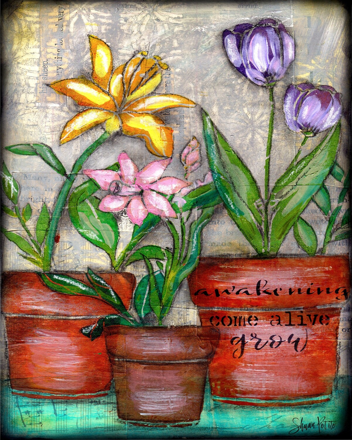 """""""Awakening"""" flower pot trio Print on Wood and Print to be Framed"""