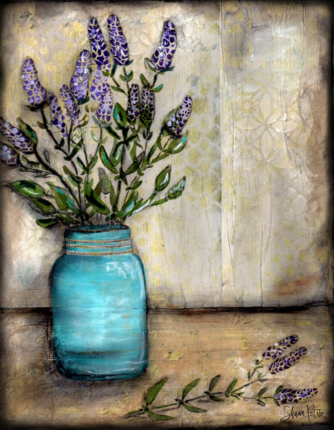 """""""Lavender"""" mason jar Print on Wood and Print to be Framed"""