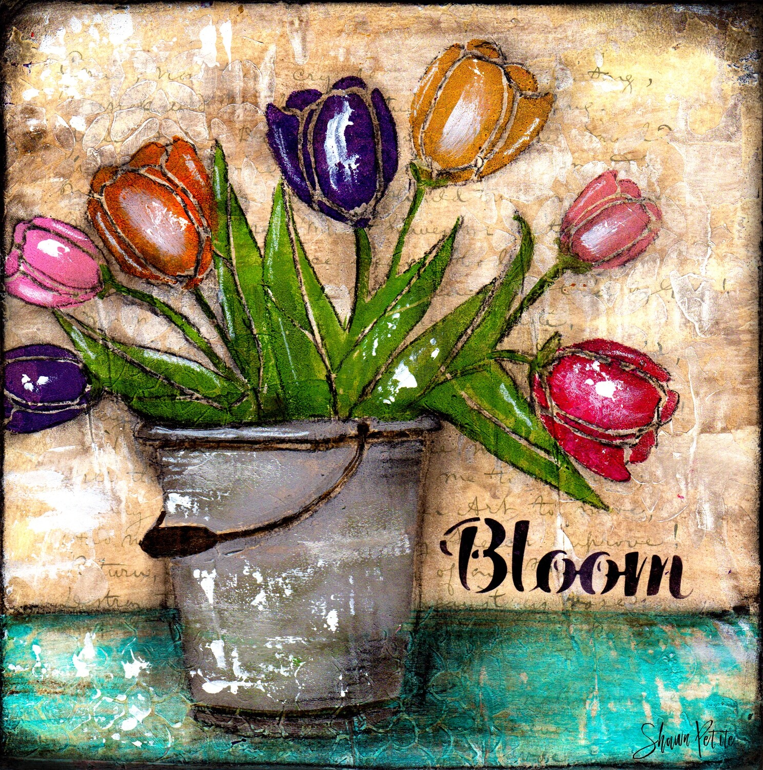 """Bloom"" tulips Print on Wood and Print to be Framed"