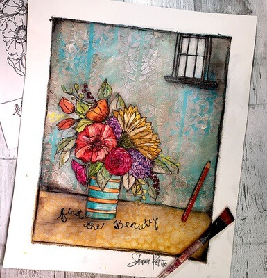 Find the beauty mixed media original on 100lb bristol paper 16x20 to be framed at 11x14