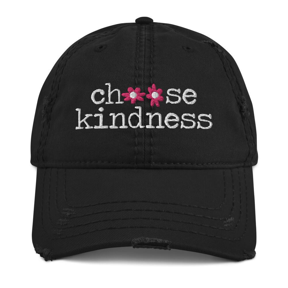 """Choose Kindness"" Pink Flowers Distressed Hat"