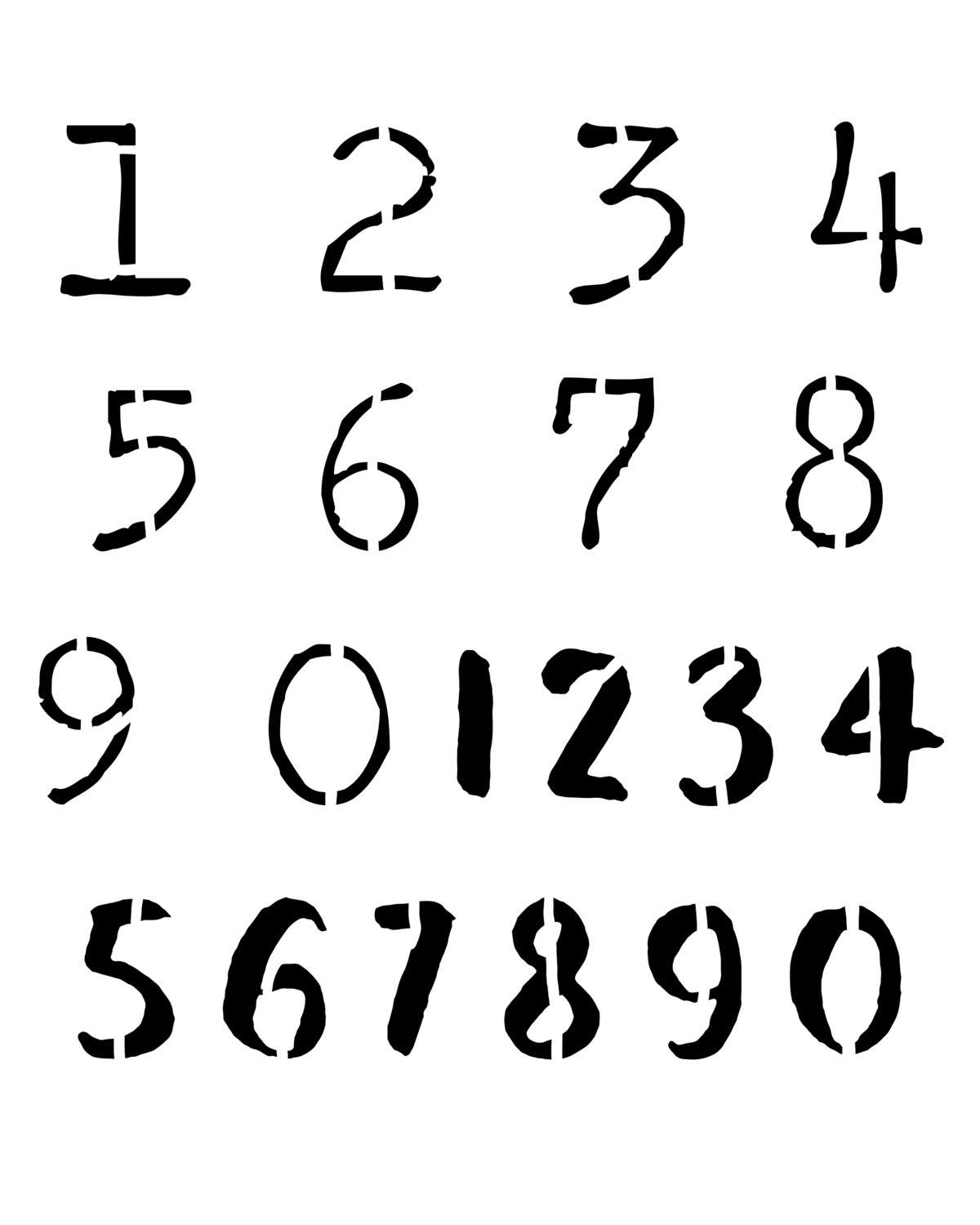 Bold Numbers stencil