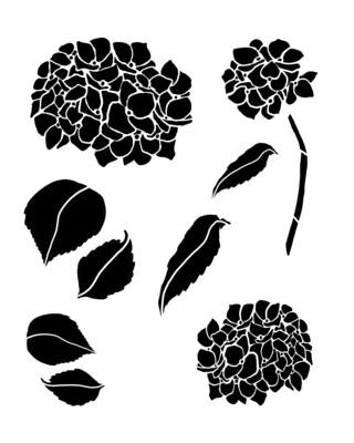 Hydrangea trio stencil