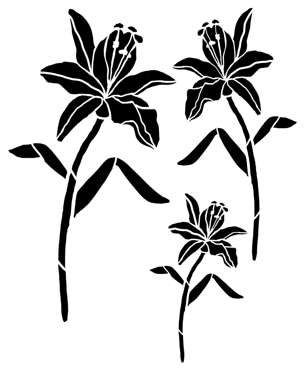 Lily Trio stencil 12x16