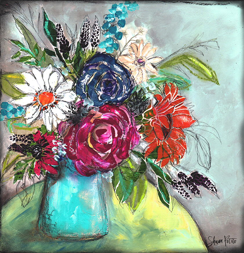Start where you are mixed media floral 12x12 original